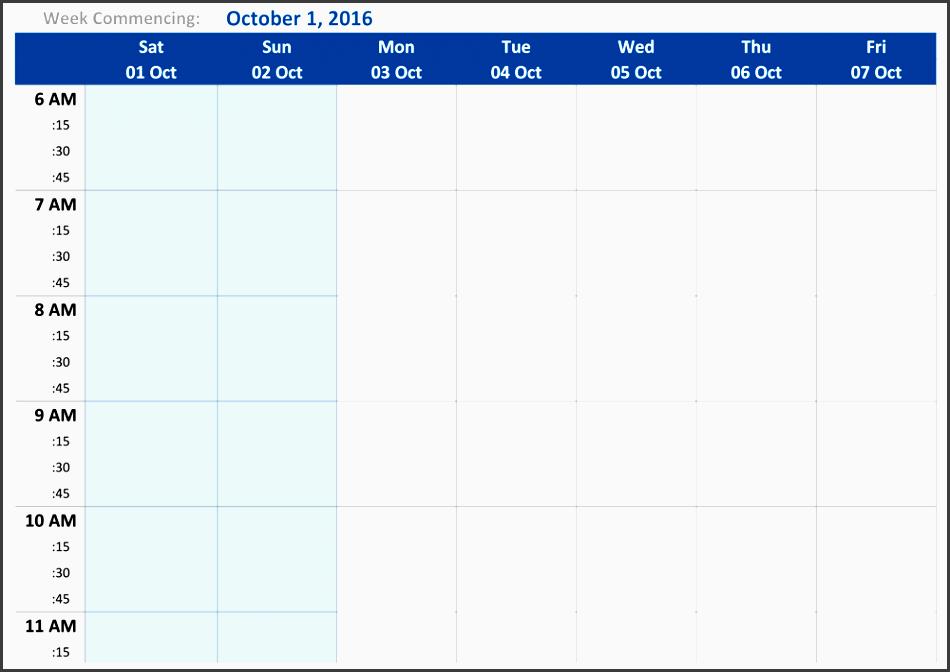 october 2016 weekly schedule template week1 preview