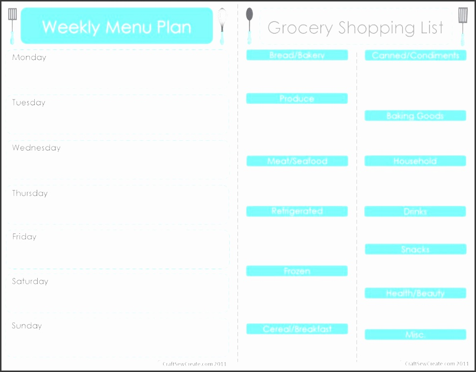 free menu planner with grocery shopping list