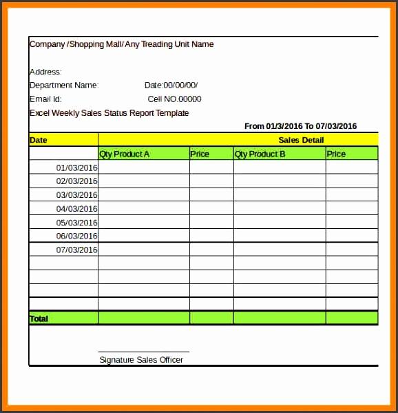 employee weekly status report template excel 3
