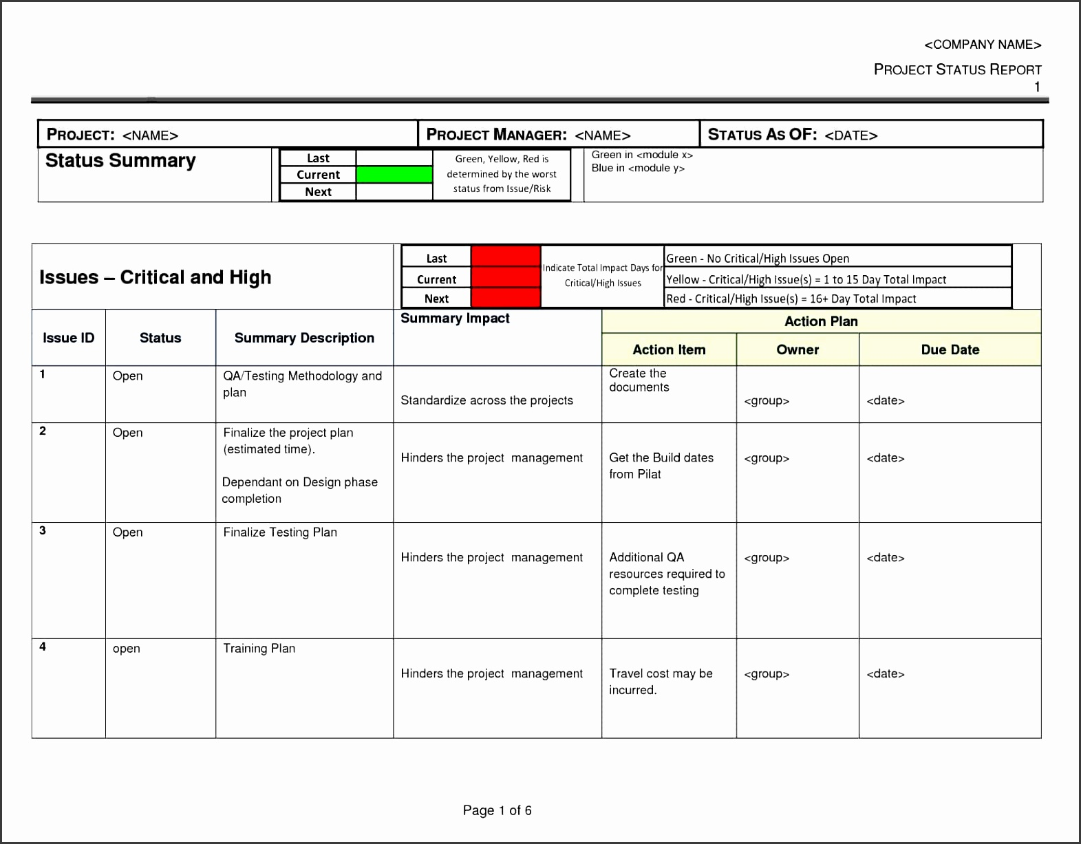 project status report template excel software and daily project status report template in excel