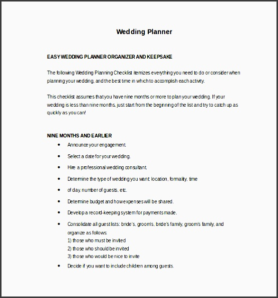 easy to edit wedding planner template
