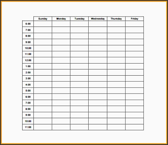 weekly hourly plannerrdner hourly schedule template pdf
