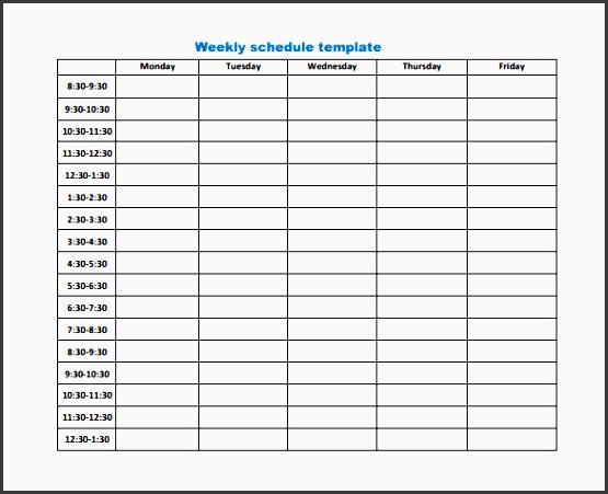weekly work schedule template 8 free word excel pdf format