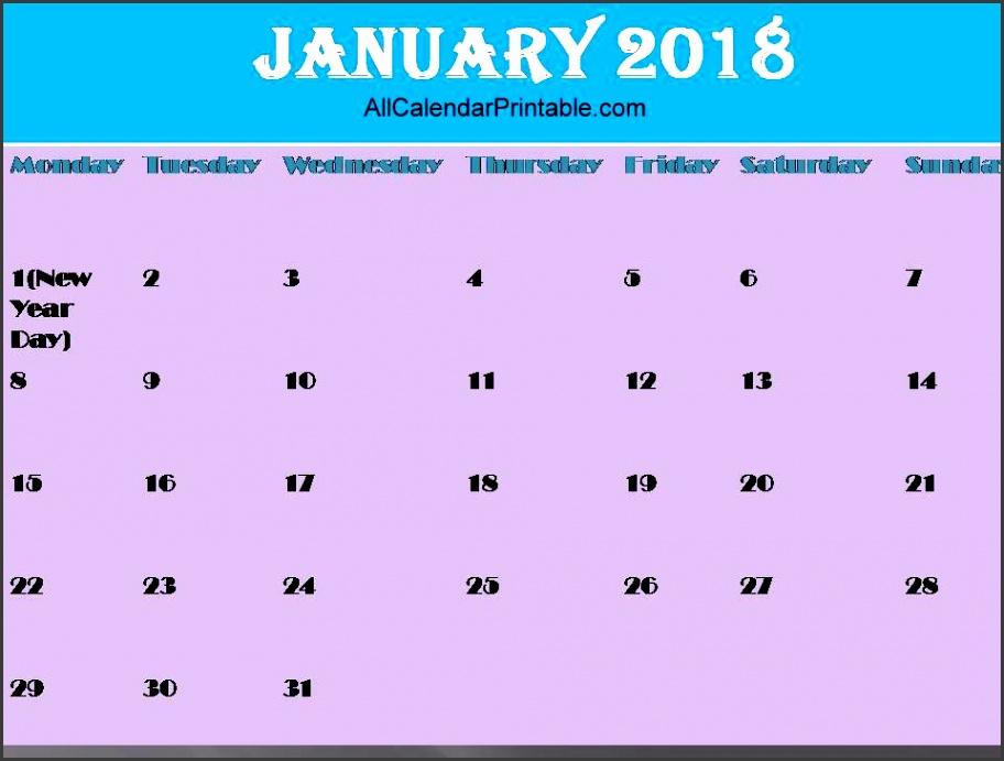 January 2018 Calendar Template Printable Holidays PDF USA