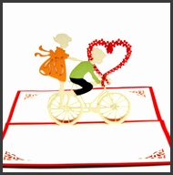 Wholesale Love bicycle heart pop up card handmade 3d love card Free shipping