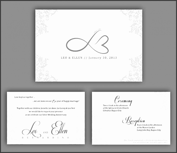 Silver Wedding Anniversary Invitation Template