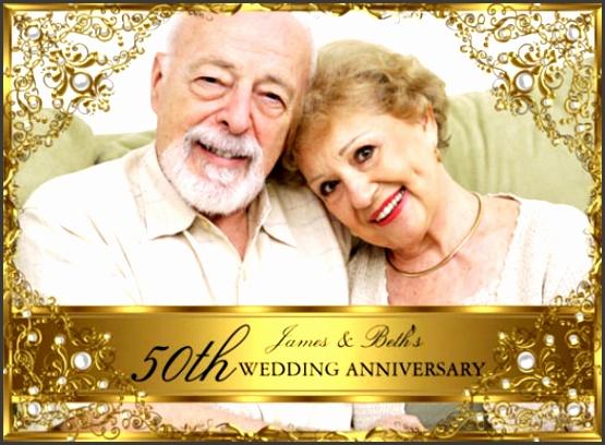 Gold Pearl 50th Wedding Anniversary Invitation Card
