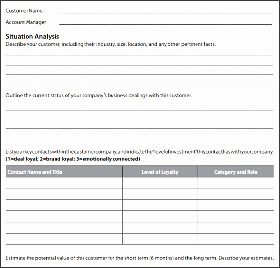Customer Account Plan Template