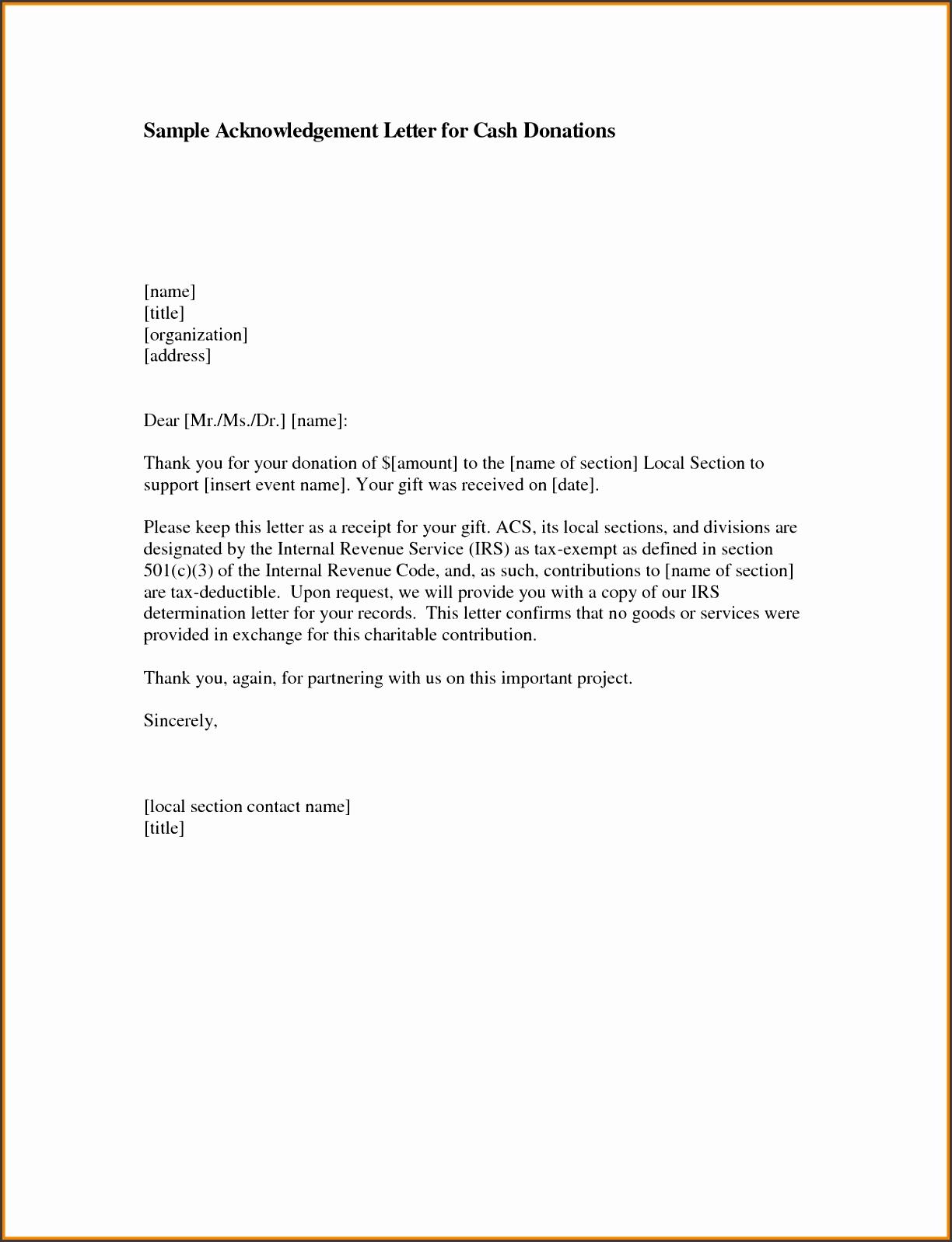 4 acknowledgement letter sample