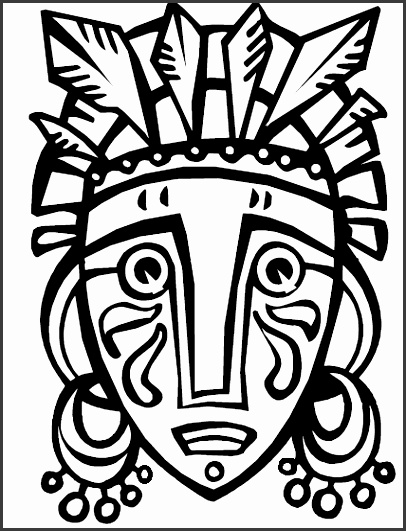 African Tribal Mask Template African Mask from coloring book Cultural Art Club Pinterest