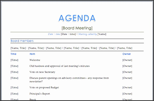 Word Agenda Templates Template