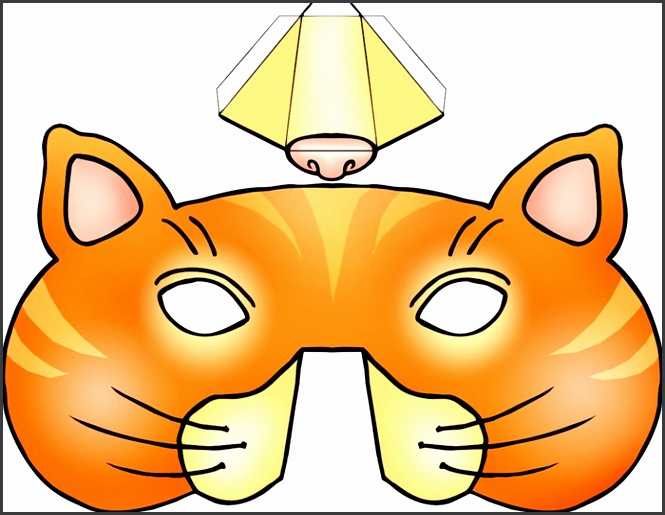kids mask template animals orange cat 3d nose