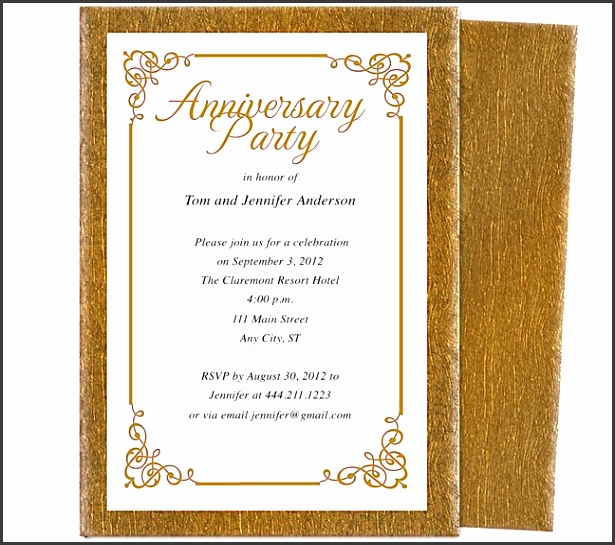 Wedding Anniversary Party Templates Laurel Wedding Anniversary Party Invitation Template accented with flourish corner framing