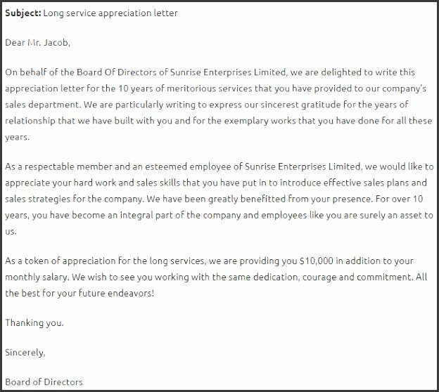 Long Service Award Letter Template
