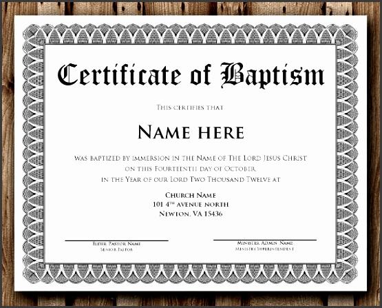 Baptism Certificate Word Editable Template