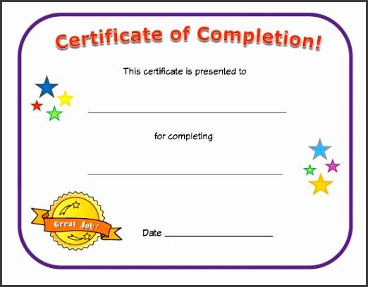 Blank Certificates pletion Templates Children Blank Certificate pletion Design For Your Inspirations
