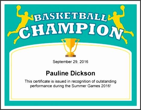 Basketball Award Certificate