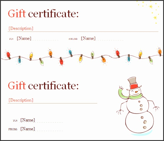 Free Christmas Gift Certificate Template Free Word DOC