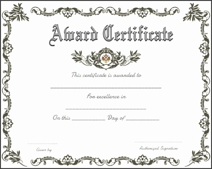 Template For Award Certificates