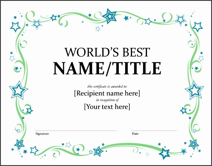 World s Best award certificate