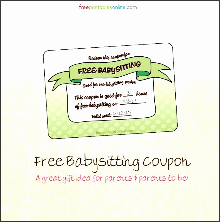 9 babysitting voucher template - sampletemplatess