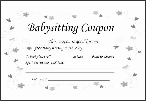 Free Printable Baby Sitting Coupon Download