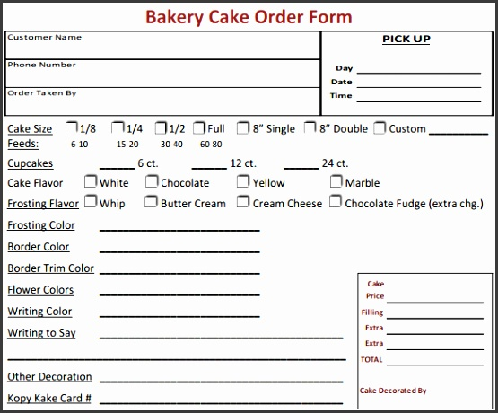 Attractive Free Cake Order Form Template