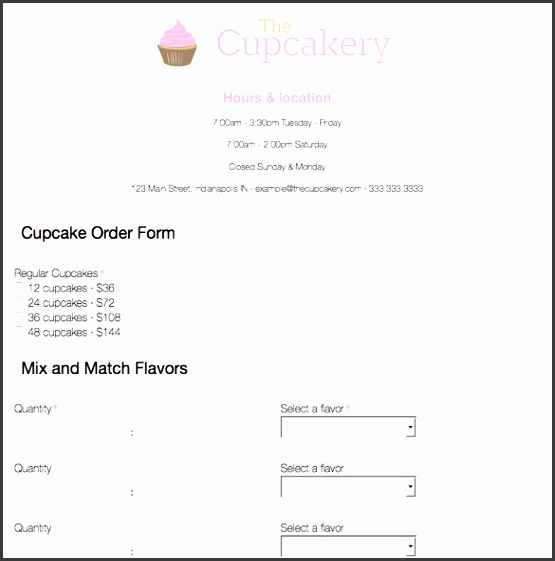 cupcake order form