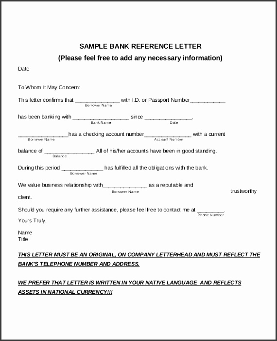 Sample Bank Reference Letter PDF Template