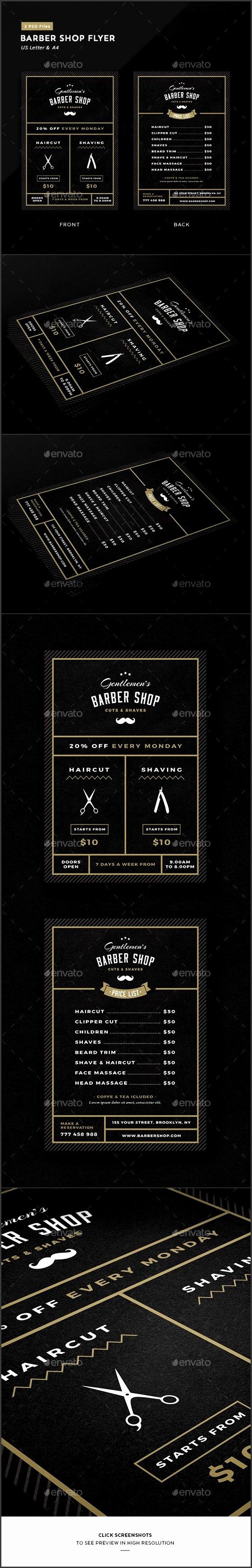 Barbershop Flyer Barbershop IdeasBarbershop DesignPsd TemplatesFlyer TemplatePrice ListBrochure