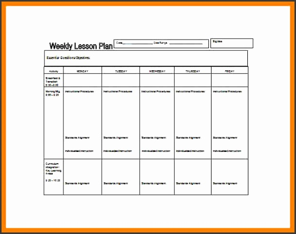 basic lesson plan template PreSchool Weekly Lesson Plan Word Free Template