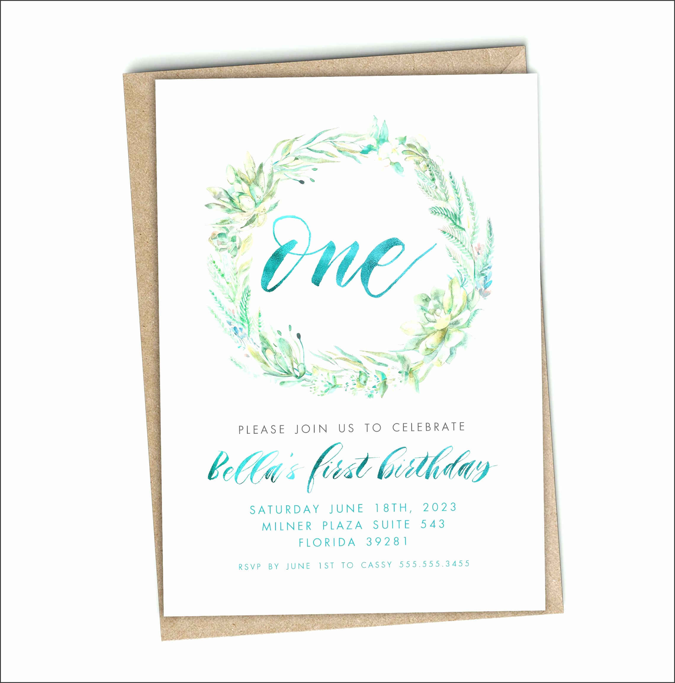First birthday invitation template girl gold watercolor flowers invitation design first