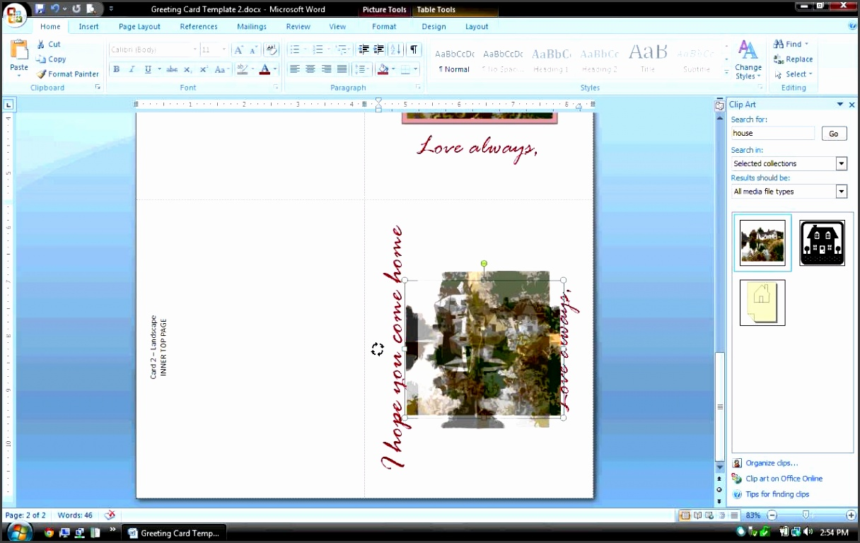 MS Word Tutorial PART 2 Greeting Card Template Inserting and Formatting Text Rotating Text