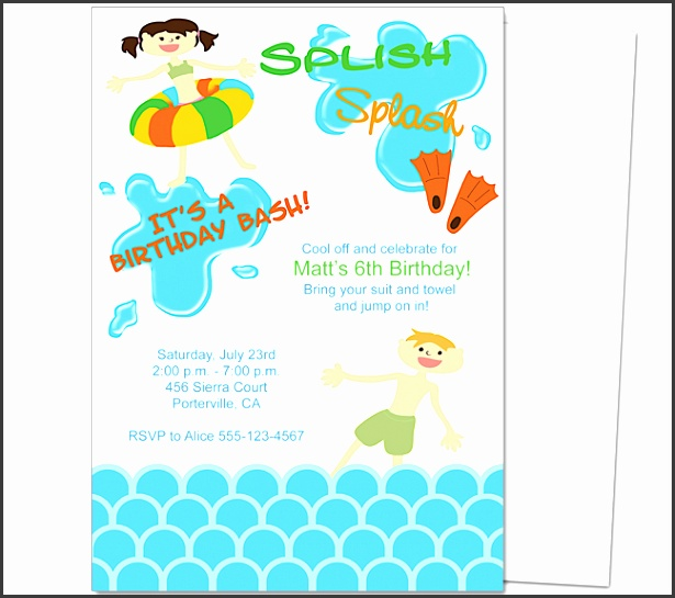 Kids Party Pool Party Kids Birthday Party Invitation Template invitations templates word
