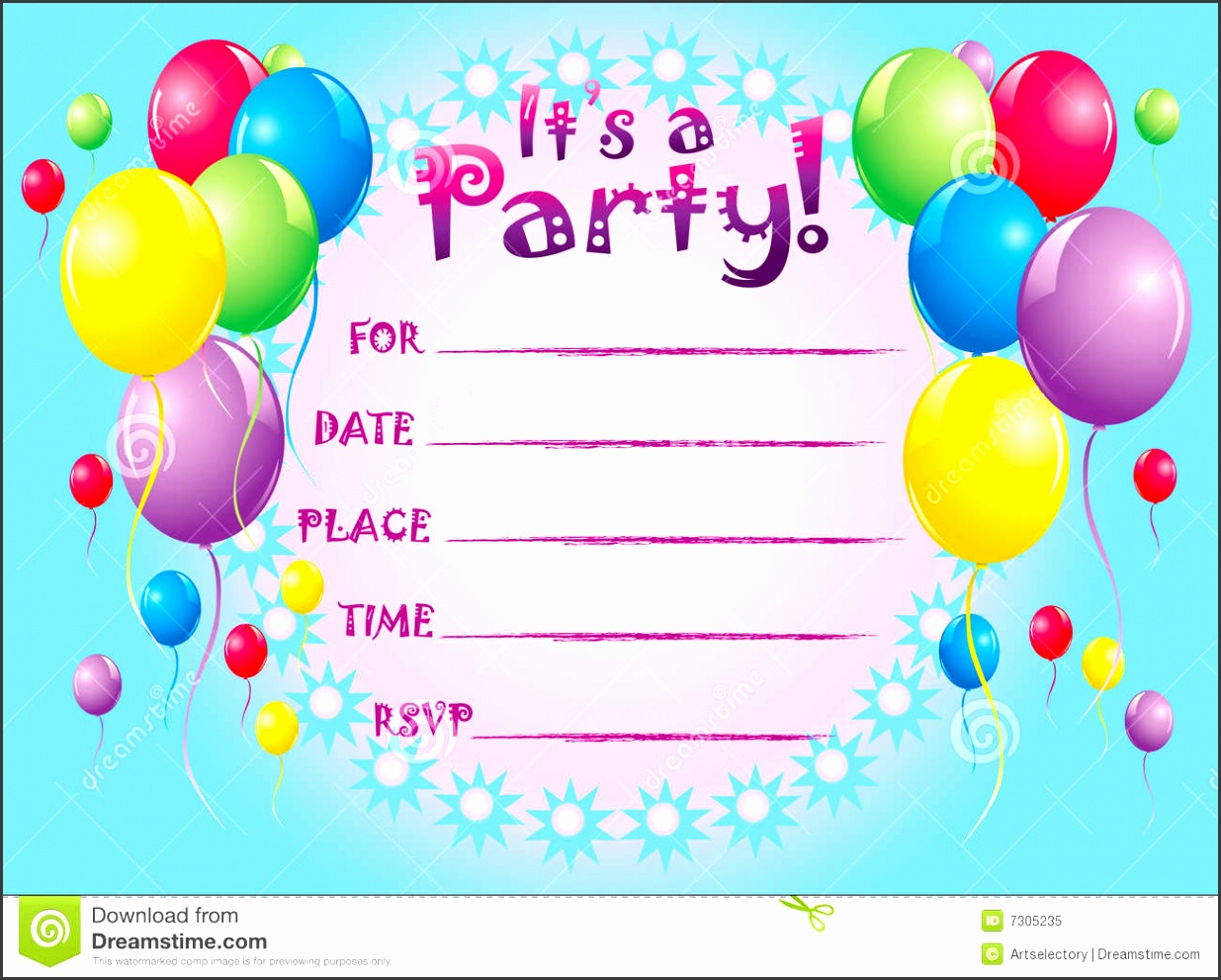 blue color birthday card invitation templates colorful ballon pink color layout modern ideas blue background