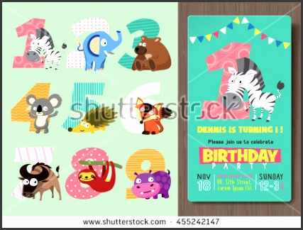 Birthday Party Invitation Template with Numbers and Funny Animal Characters