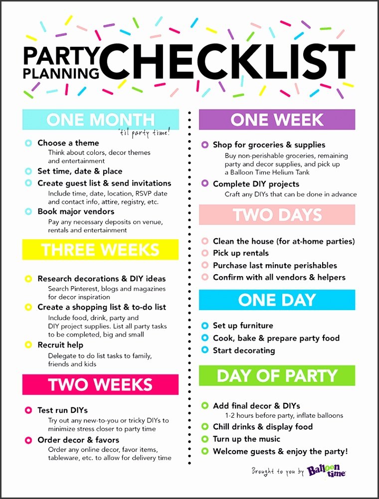 Balloon Time Party Planning Checklist