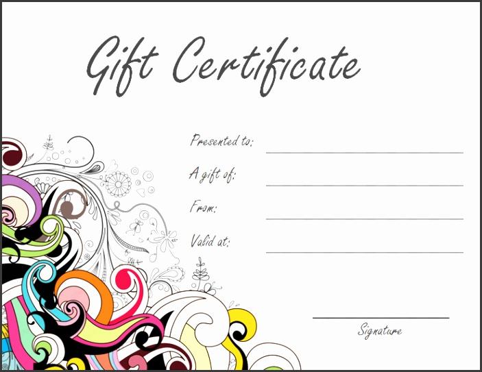 Jazzy Swirls Gift Certificate Template