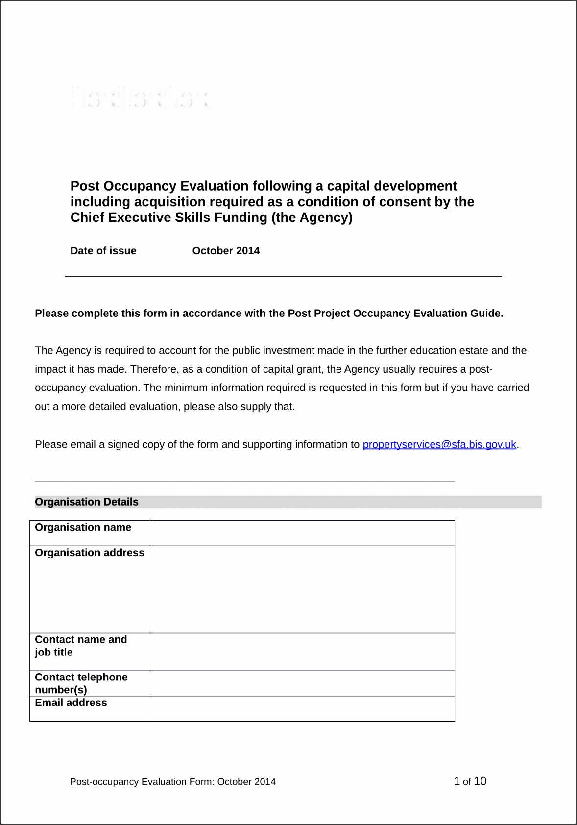 Attachment Post occupancy evaluation form
