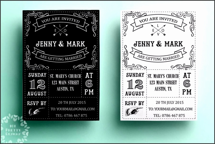 Retro wedding invitation template printable wedding invitation design black and white vintage wedding invite design typographic card