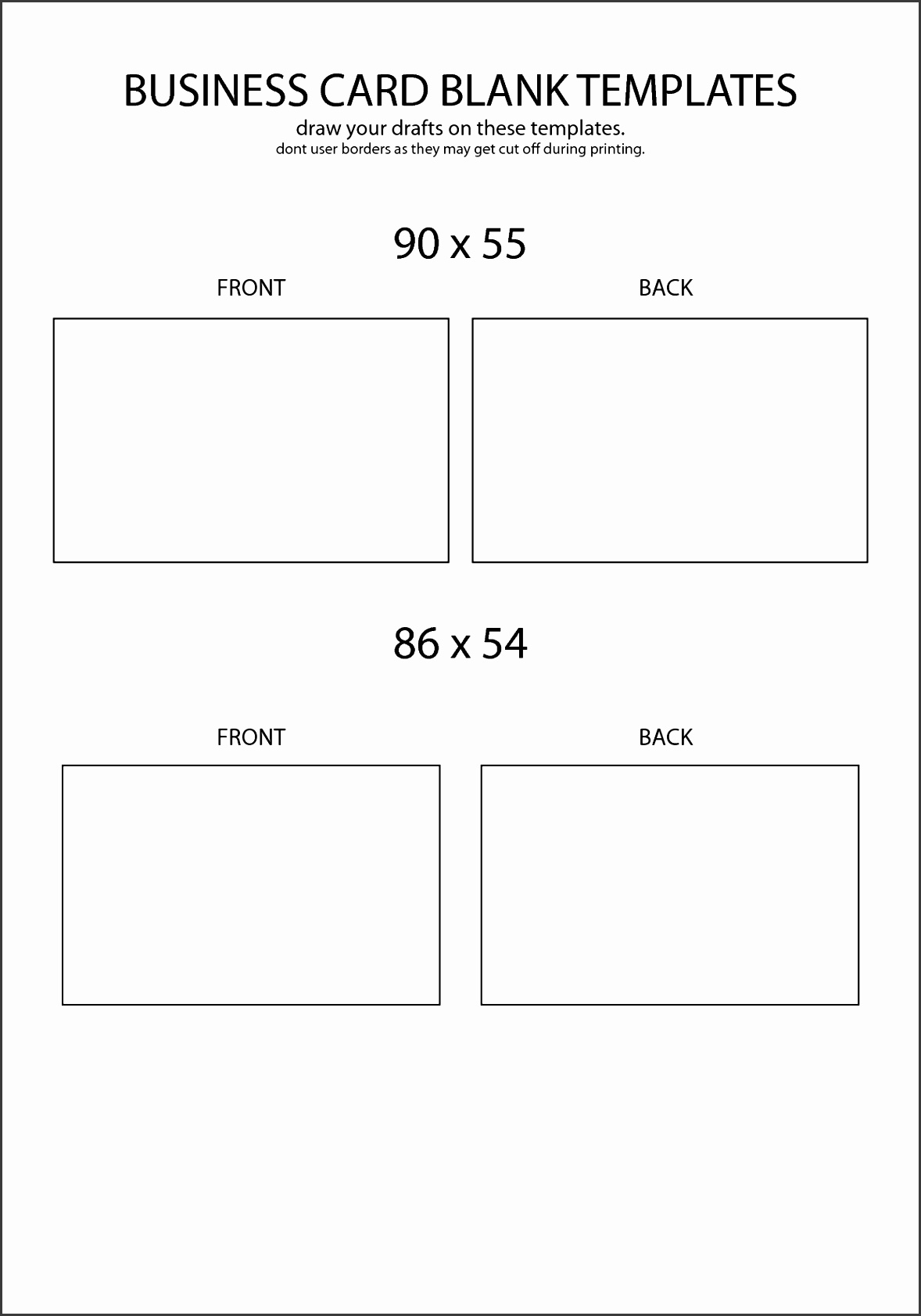 blank template for business cards simple business card template word