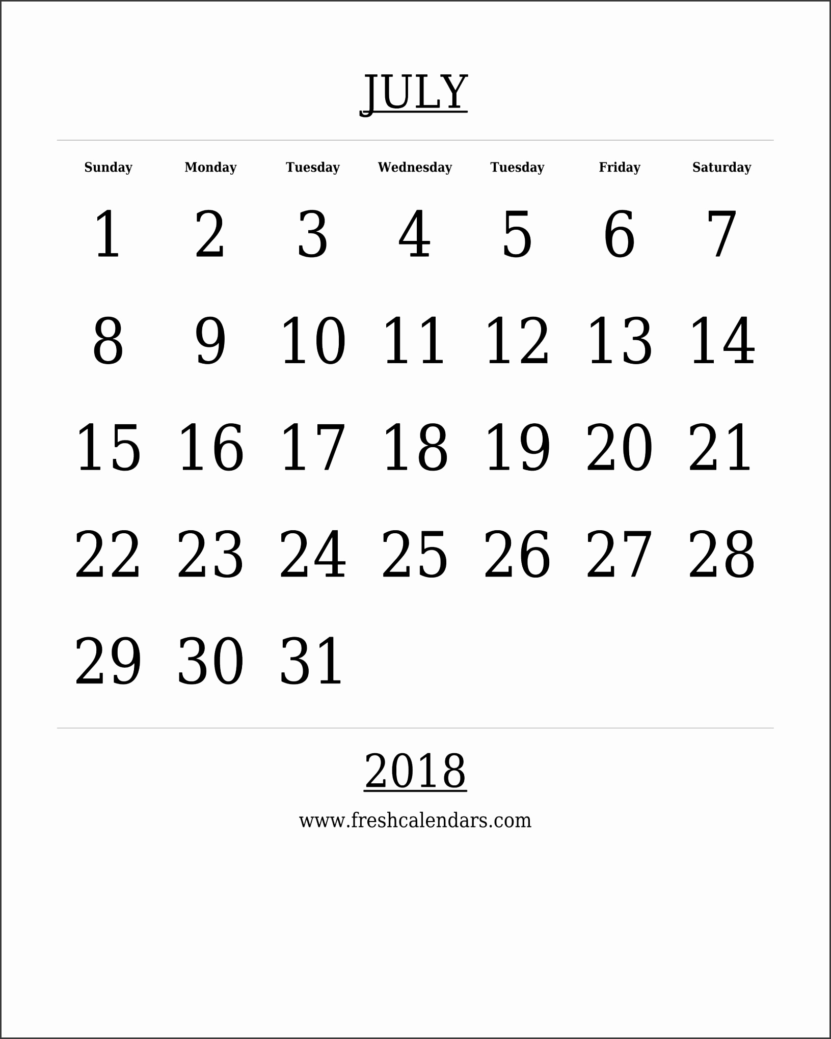 Free Printable Template July 2018 Calendar Bold Style