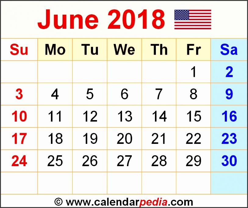 Gallery of June 2018 Calendar Template