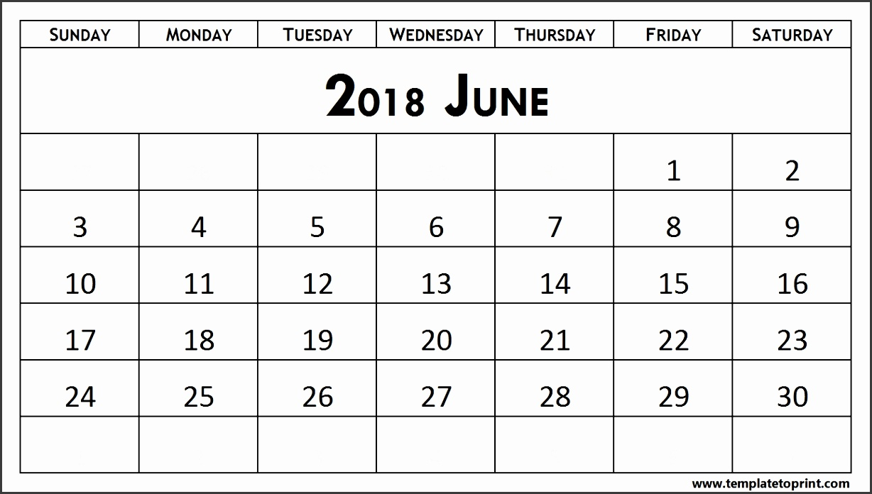 Free Printable Calendar June 2018 Template