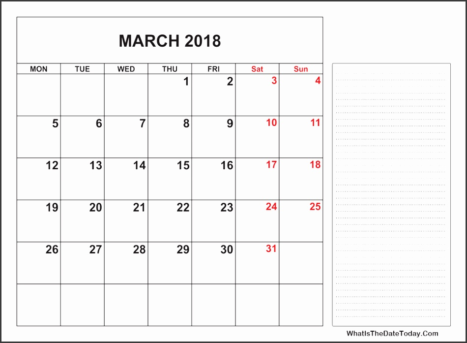 2018 printable march calendar with notes space