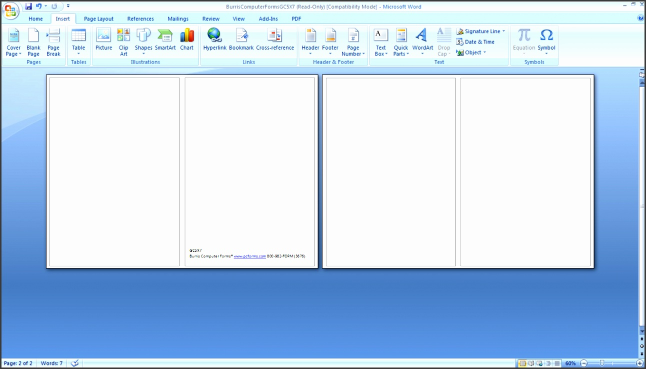 word greeting card template