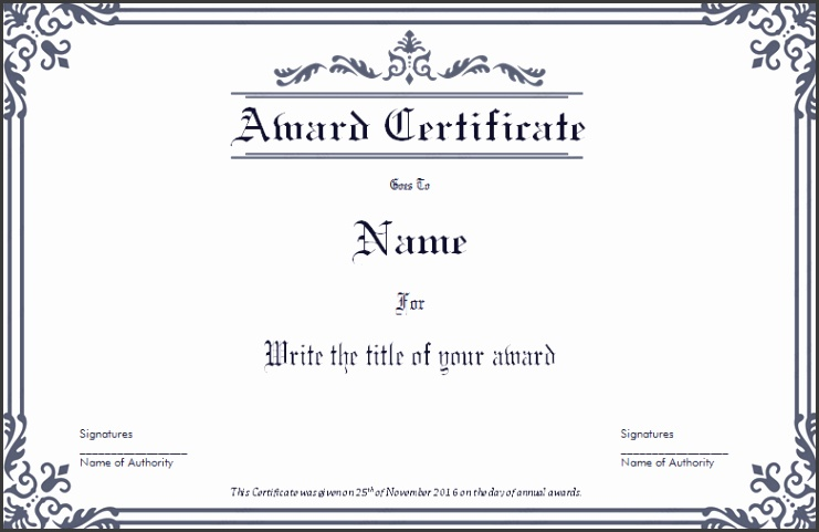 Dignified Award Certificate Template
