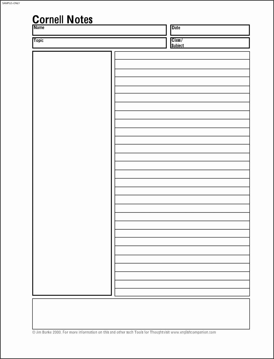 Cornell note taking template blank notes facile snapshoot accordingly cornellbasic