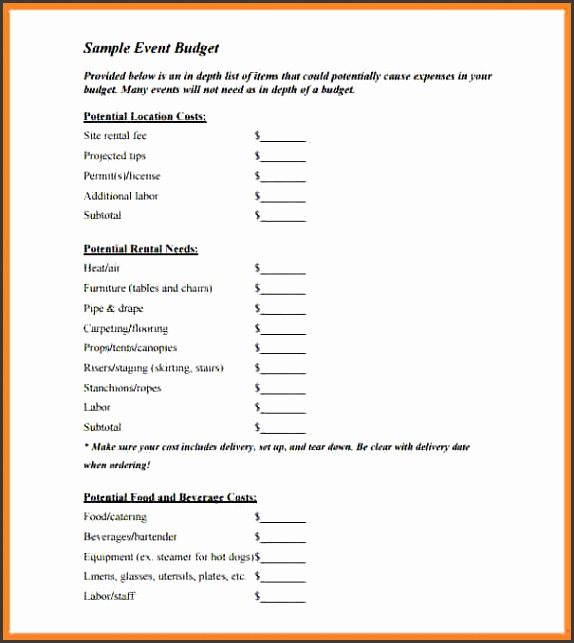 event bud proposal template Sample Blank Event Bud Template PDF Download