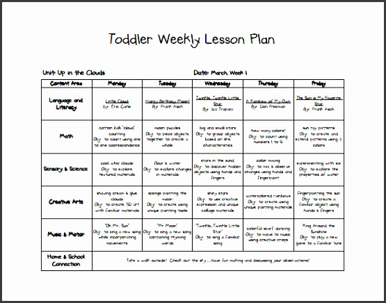 Toddler Lesson Plan Templates Blank Toddler Lesson Plan Template 10 Free Word Excel Pdf Format Ideas